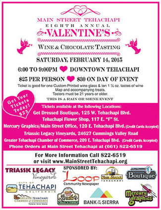 The 8th Annual Valentines Wine Walk and Chocolate Tasting, sponsored by Main Street Tehachapi, is scheduled for February